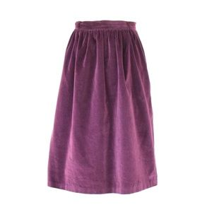 VINTAGE Purple Velvet  A-line Midi Skirt